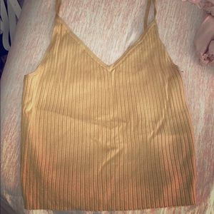 Kendall and Kylie mustard knit tank